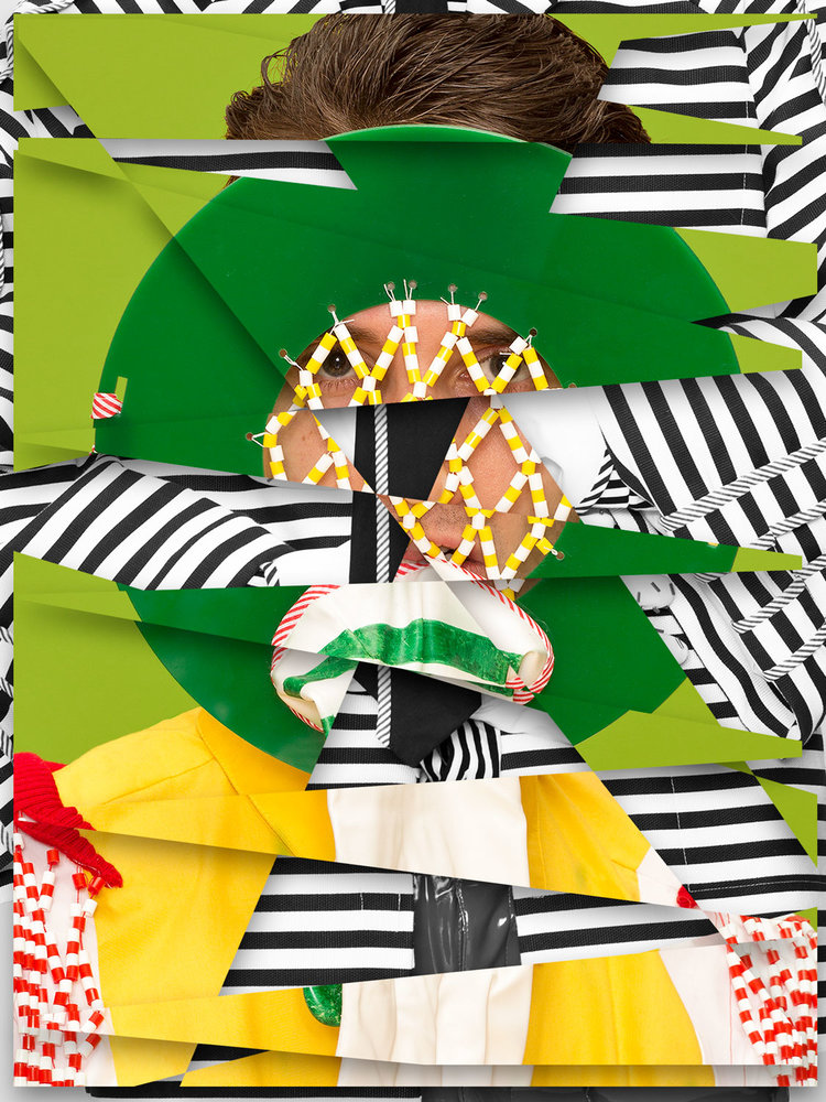 A FLAG STRIPES AND A GUY IN GREEN OVERALLS BY DEWI BEKKER